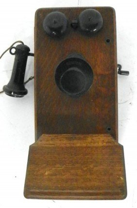 Oak Wall Hanging Telephone By Kellogg