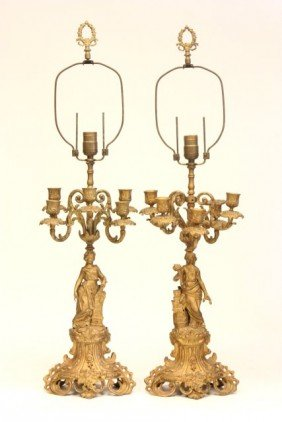 Pair 19th C. Figural Bronze Converted Candelabrum