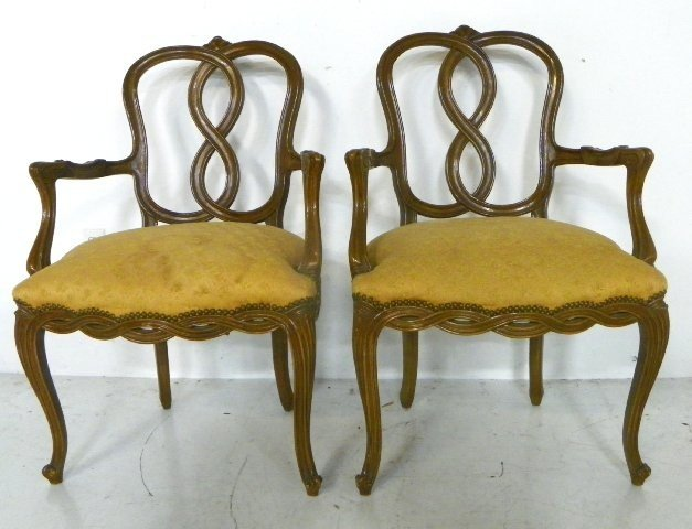 1132: Pair country French style chairs