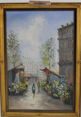 1223 Oil Painting Quot Paris Street Scene Quot Signed Dubois