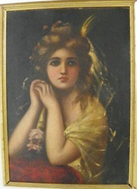 "19th/20th C. Gilt Framed ""Portrait Of A Girl"""