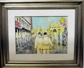 "Mixed Medium ""Two Men In White"" Signed"