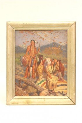 "Oil Painting ""American Indians"" Ca. 1930-40's"