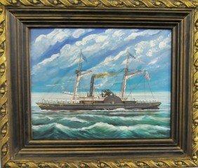 "Kristina Nemethy ""Steamboat"" Painting"