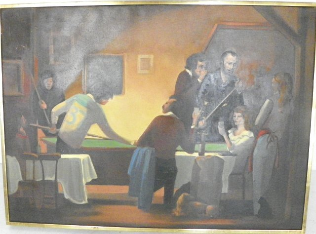 "1296: Framed painting ""Pool Table"""