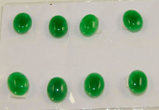 1446: 8 green jade oval stones for rings