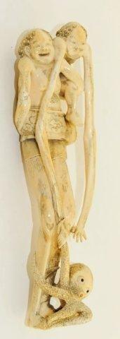 1538: Japanese ivory grouping of Ashinaga-Tenaga