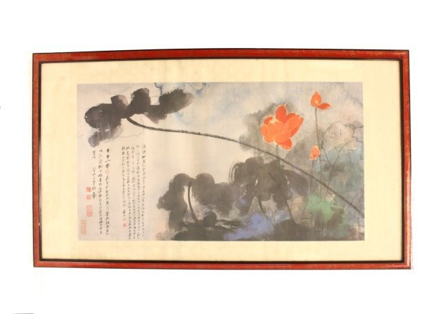 "1684: Framed Chinese scroll of ""Flowers"""