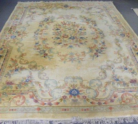 1: Beige & powder blue center medallion rug