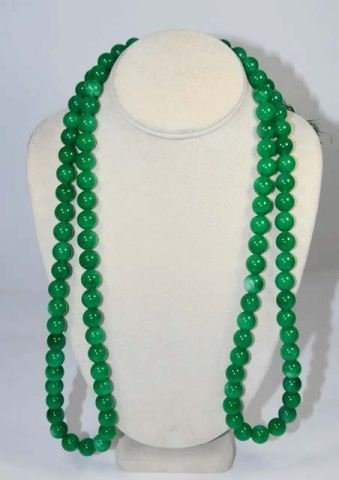 28: Green jade necklace