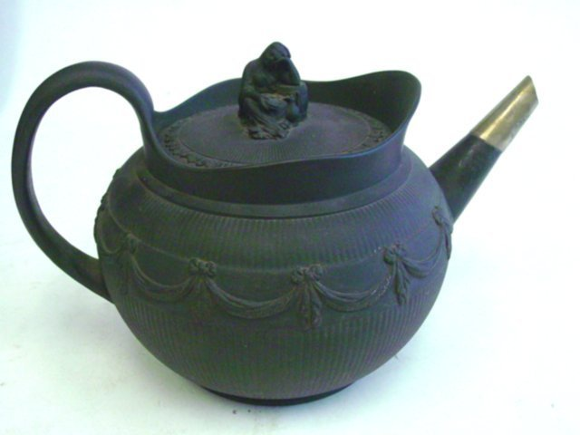 97: Late 18th c. black basalt teapot with figural cover