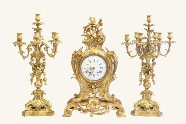 207: 3 piece monumental bronze Tiffany clock set