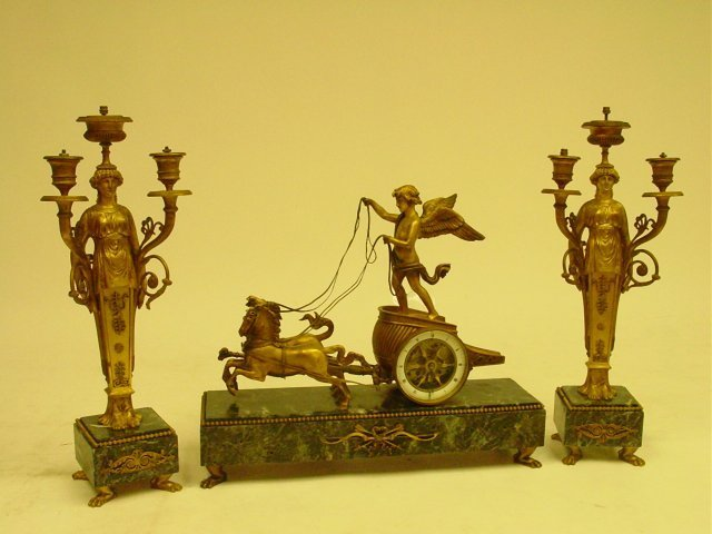 213: Empire gilt bronze & marble figural clock set
