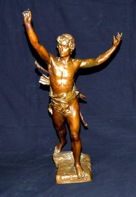706: 19th c. bronze figure signed Eugene Marioton