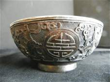 1207 Chinese carved horn cup with silver insert