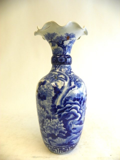 17: 19th c. Japanese blue & white porcelain vase