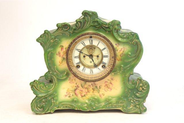 29: Ansonia green porcelain clock face
