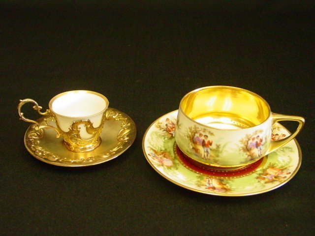 40: 2 cups & saucers, 1 Rosenthal