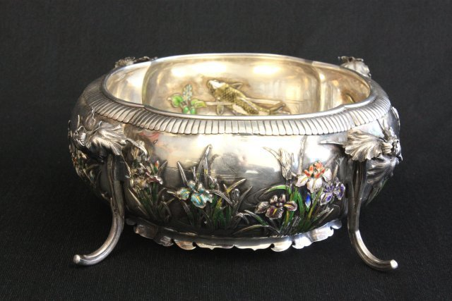 226: Japanese silver & enamel footed bowl