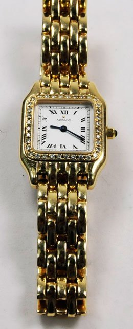 1001: Ladies 14kt Movado watch with diamonds - 2