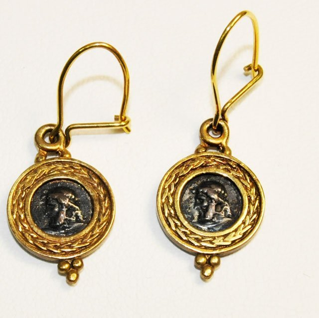 1014: Pair 18kt gold earrings - 3