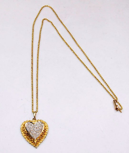 "1021: Diamond & 14kt yellow gold ""Heart"" drop with chai"