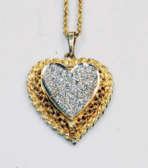 "1021: Diamond & 14kt yellow gold ""Heart"" drop with chai - 2"
