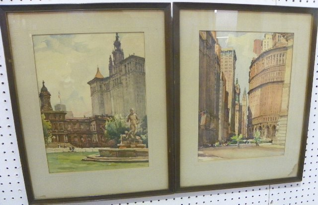 1205: Pair framed watercolors signed Marc