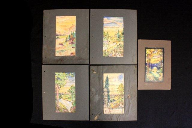 1207: 5 prototype watercolors for Tiffany Windows