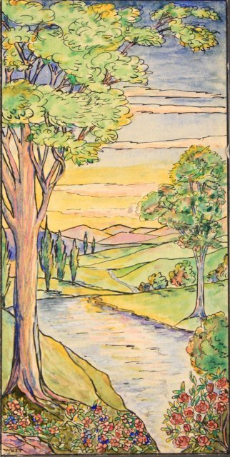 1207: 5 prototype watercolors for Tiffany Windows - 2