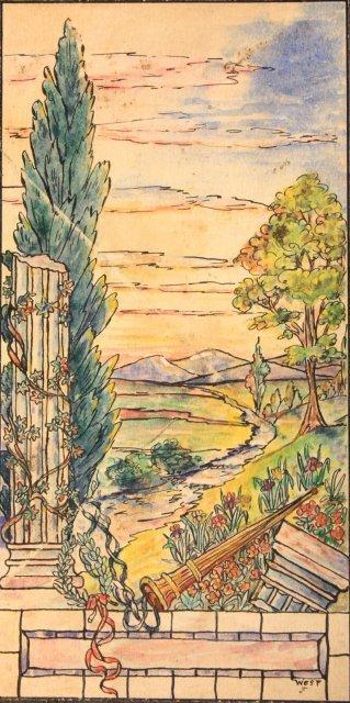 1207: 5 prototype watercolors for Tiffany Windows - 3