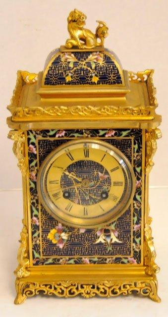 1437: Blue & gold enameled 8 day mantle clock