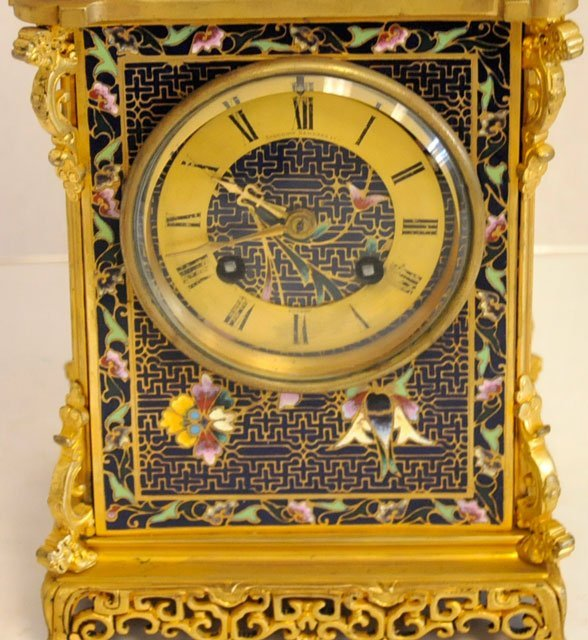 1437: Blue & gold enameled 8 day mantle clock - 2