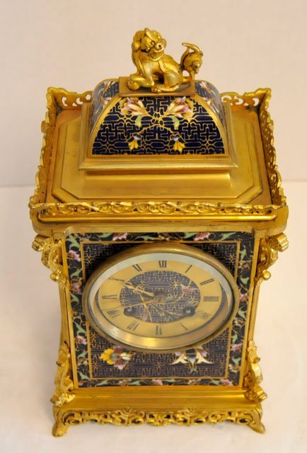1437: Blue & gold enameled 8 day mantle clock - 3