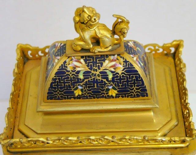 1437: Blue & gold enameled 8 day mantle clock - 4
