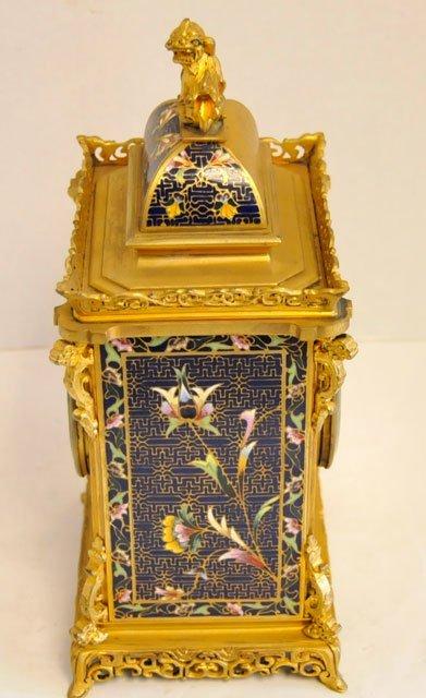 1437: Blue & gold enameled 8 day mantle clock - 5