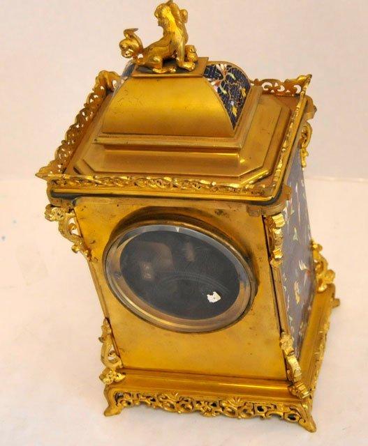 1437: Blue & gold enameled 8 day mantle clock - 7