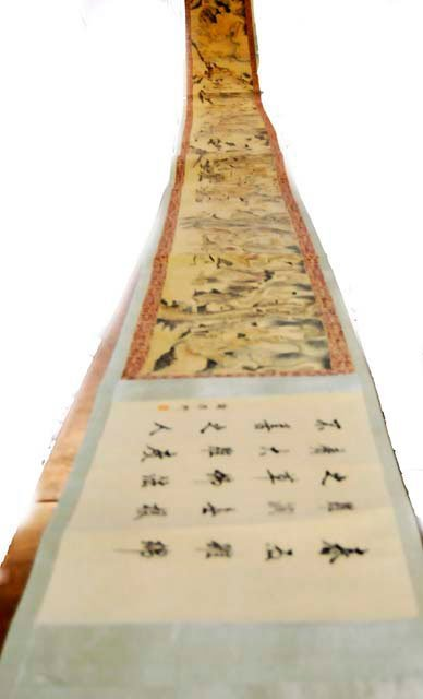 964: Magnificent Chinese scroll painting silk paper