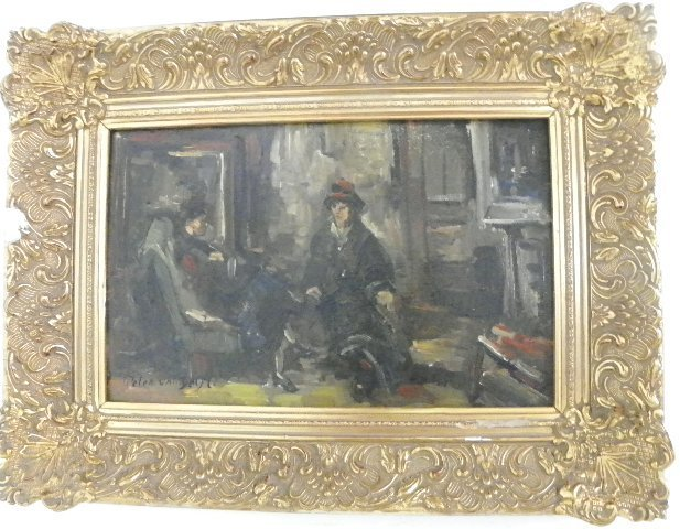 "1247: Oil painting by Peter Van Delft ""Interior Scene"""