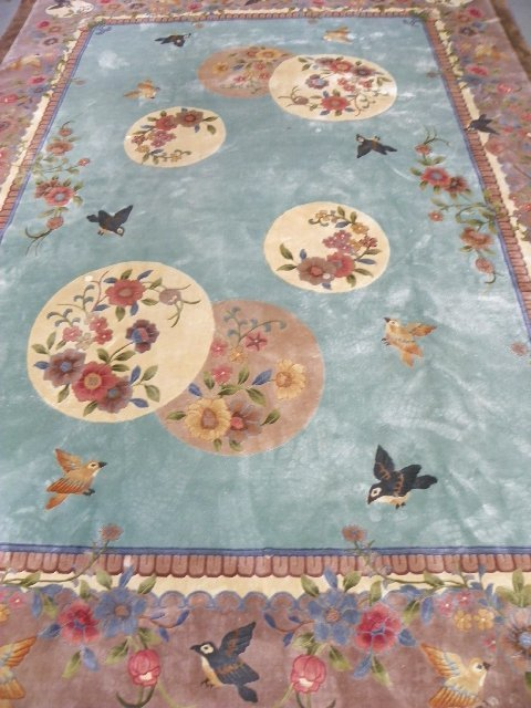 "2: Chinese silk carpet with ""Bird & Floral"" motif"