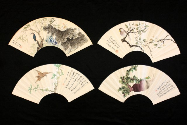 22: Four piece Chinese decorated fans