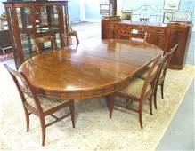 134: Mahogany inlaid Sheraton dining room set