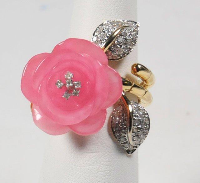 1000A: 14kt gold, pink opal & diamond ring