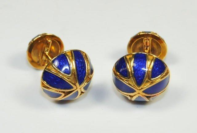 1002A: Blue enamel & 18kt gold David Webb cufflinks