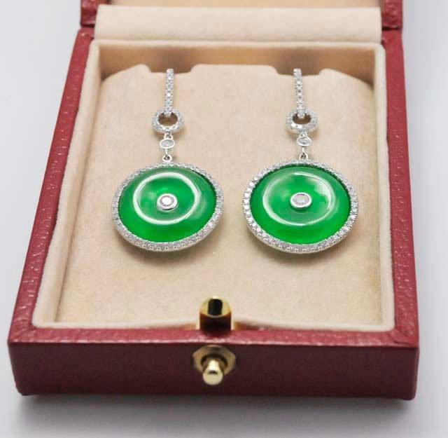 1005A: Diamond & Jade earrings