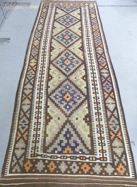 13: Brown & beige Turkish Kilim rug