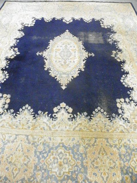 18: Handmade center medallion Kermin rug