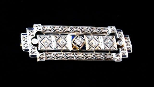 1001: Art Deco platinum, diamond & sapphire brooch