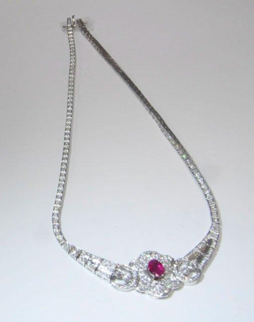 1007: 14kt white gold diamond necklace