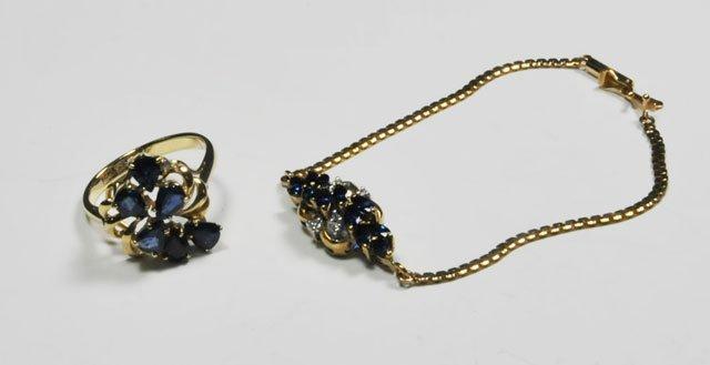 1009: 14kt gold diamond & sapphire ring & bracelet